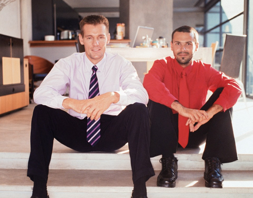 Full sized istock image two workers sitting on stairs