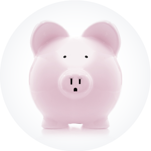 Pink piggy bank in a circle depicting cash flow