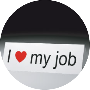 I love my job sign inside circle