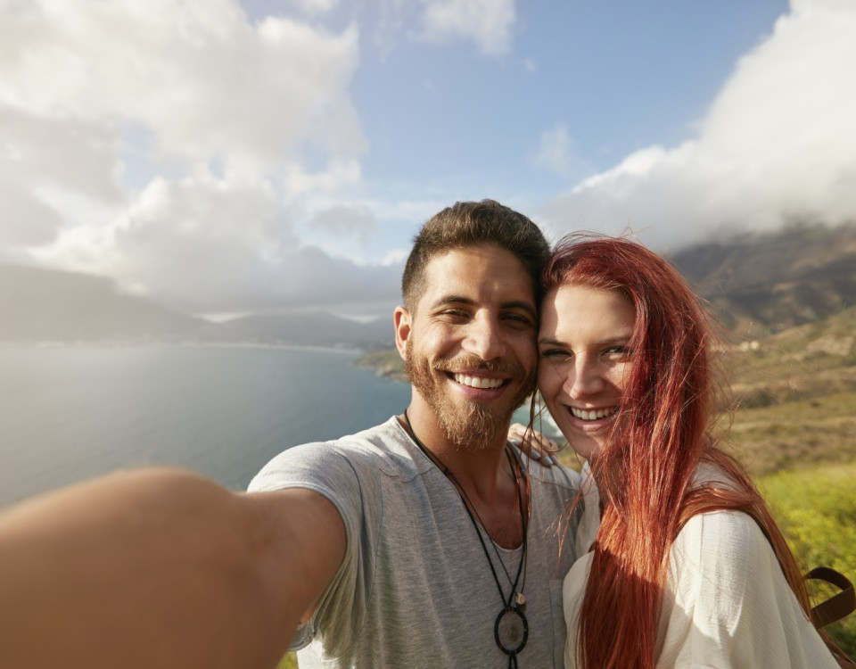 Happy young couple selfie