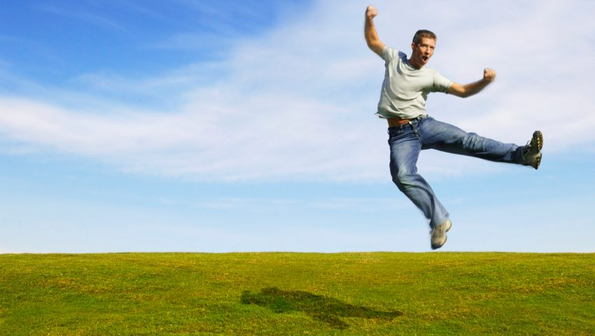 success, happiness, jumping man